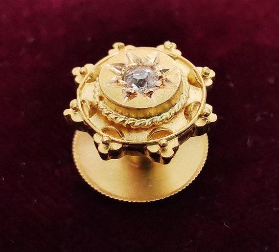 Victorian 15ct Gold Diamond Star Dress Stud