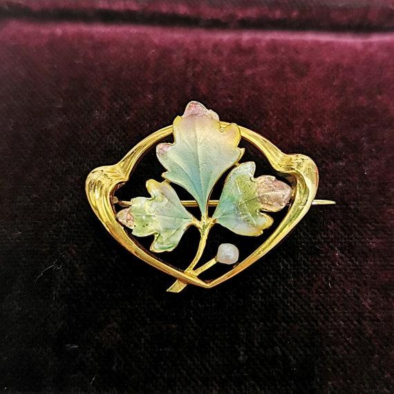Art Nouveau 9ct Gold Enamel & Pearl Leaf Brooch