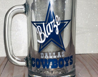 8b4bc2c7f Custom Beer Mug | Glass Beer Mug | Custom Mug | Beer Mug | Birthday Beer Mug  | Father's Day Beer Mug | Sports Mug | Dallas Cowboys Mug