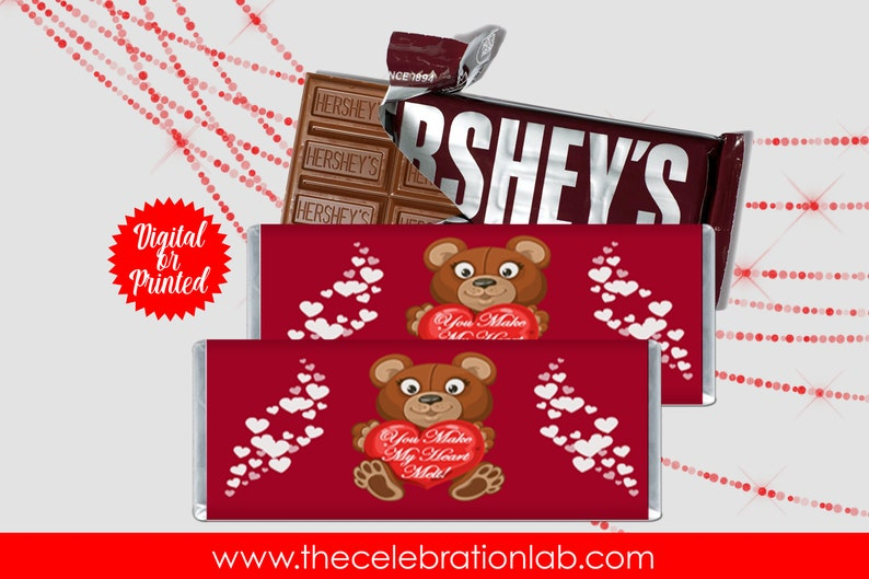 Instant Download Custom Hershey Bar Wrapper Valentine/'s Day Candy Template Custom Chocolate Bar | Valentine/'s Day Candy Bar Label