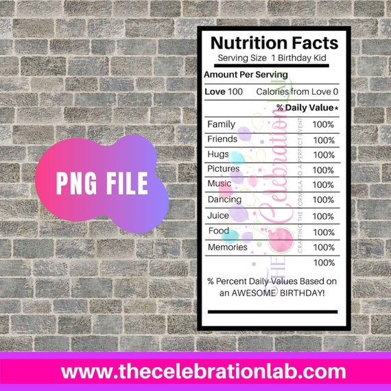 Pre Filled Birthday Nutrition Facts Nutrition Facts Png Etsy