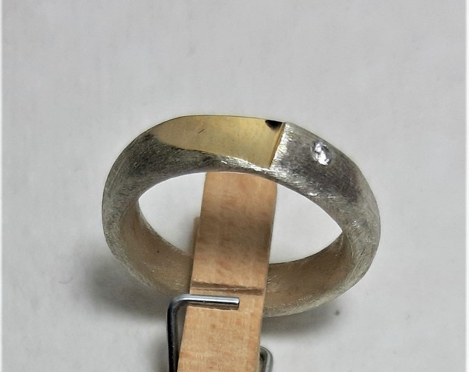 Ring silver with fine gold plating