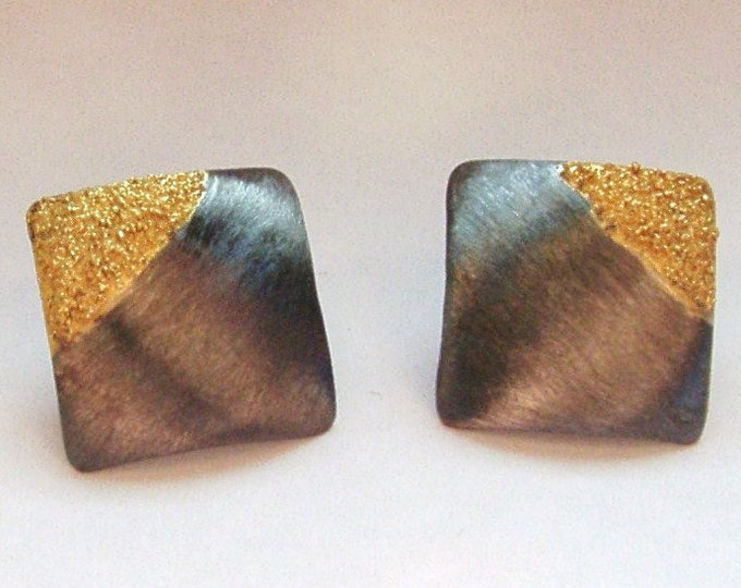 Studs silver black rhodium-plated with gold