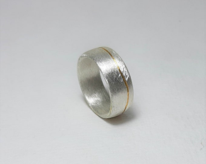 Ring silver lens shape with fine gilding
