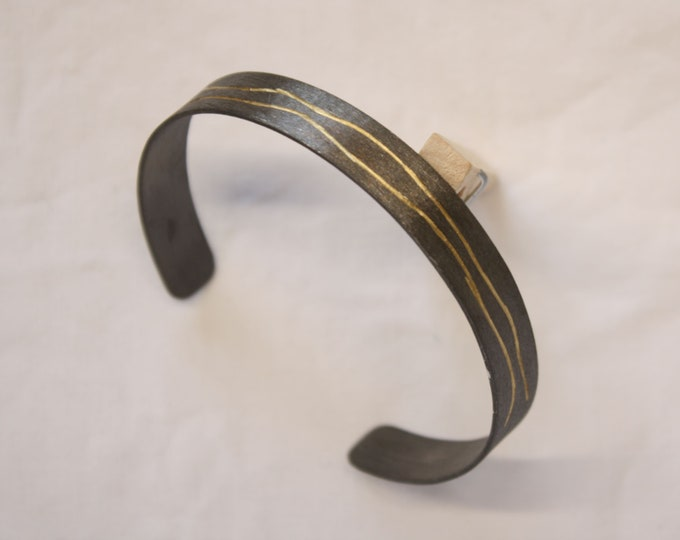 Bangle 12 mm silver 935 black rhotined with gold