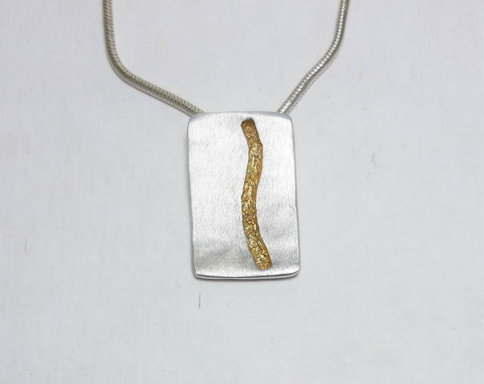 Pendant silver with fine gold