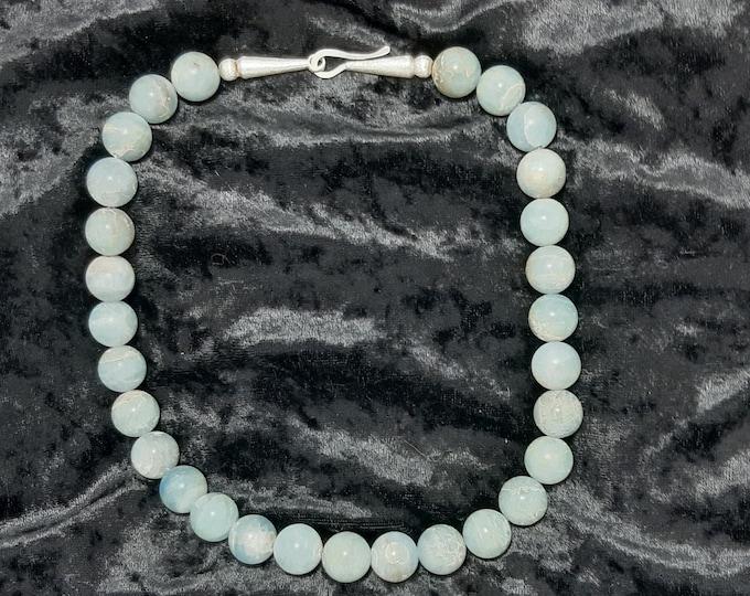 Aquamarine chain with silver closure