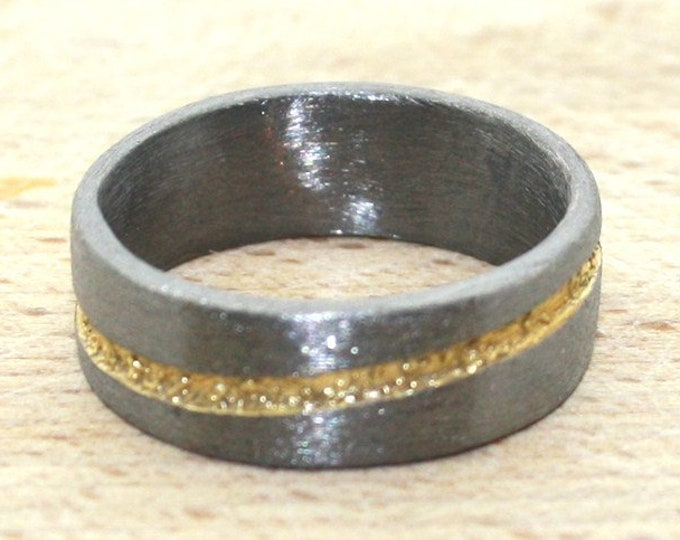 Ring silver black rhodium-plated with gold