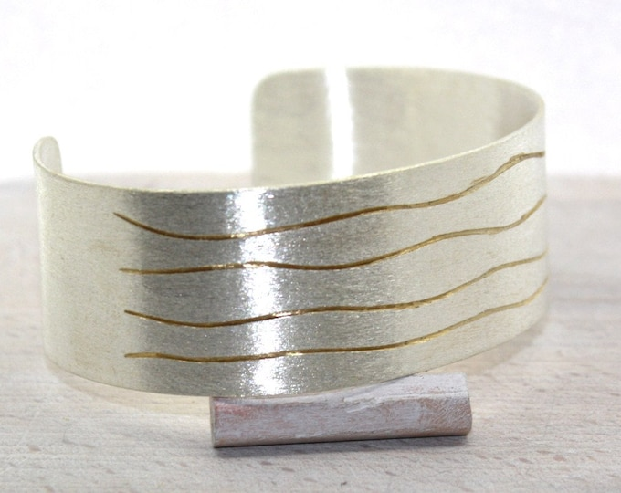 Bangle 25 mm silver with fine gold