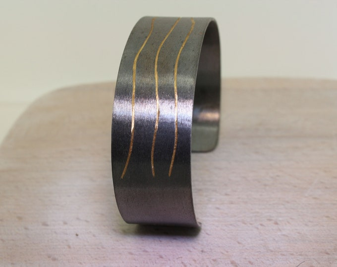 Bangle 20 mm silver, black rhodium plated with fine gold