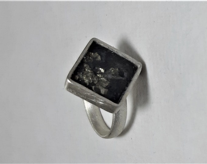 Ring silver with slate
