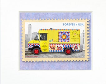 """Picciotto Sicilian Street Food & Pizza, NYC, 4""""x 6"""" Frame, Mat included, Photographic Silver Halide composition print, Stamp series"""