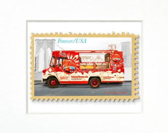 """Brooklyn Popcorn Food Truck, NYC, 4""""x 6"""" Frame, Mat included, Photographic Silver Halide composition print, Stamp series"""