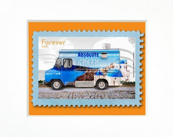 """Absolute Greek Food Truck, NYC, 4""""x 6"""" Frame, Mat included, Photographic Silver Halide composition print, Stamp series"""