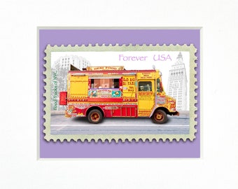 """Desi Food Truck, Indian cuisine, NYC, 4""""x 6"""" Frame, Mat included, Photographic Silver Halide composition print, Food Truck Stamp series"""