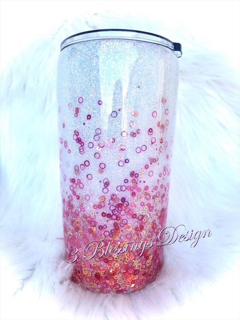 White and red to gold color shift glitter tumbler with lid 20oz