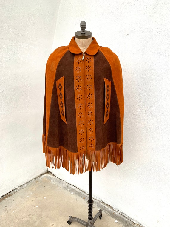 1970's Suede Fringe Cape Poncho