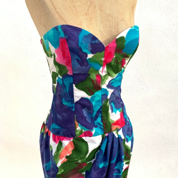 1980's Victor Costa Floral Dress - image 4