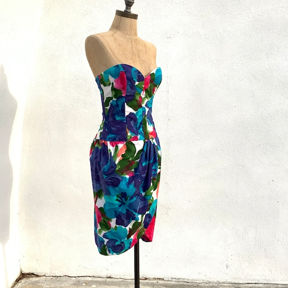 1980's Victor Costa Floral Dress - image 1