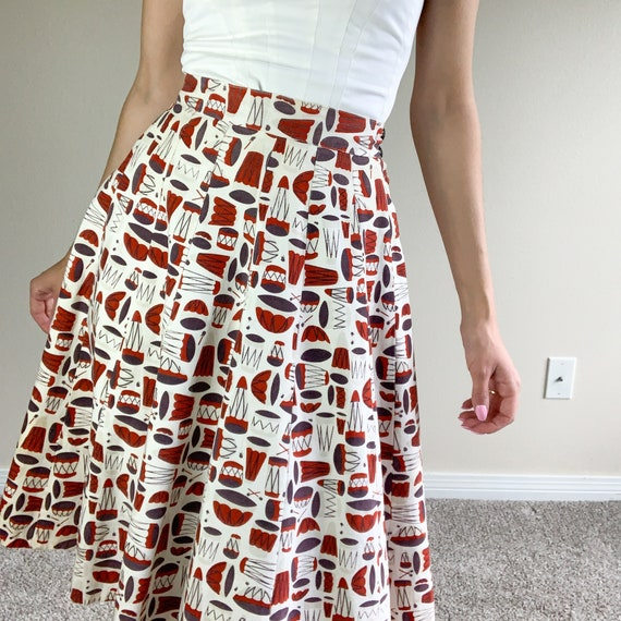 1940's/ 1950's Novelty Print Skirt - Drums - image 2