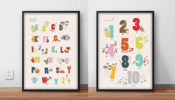 Plakaty Dla Dzieci Alfabet Cyfry 30x40cm