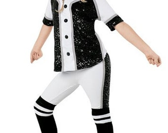Childs Costume Baseball Halloween Hip Hop Dance Black and White Sequins 41e93c068b2