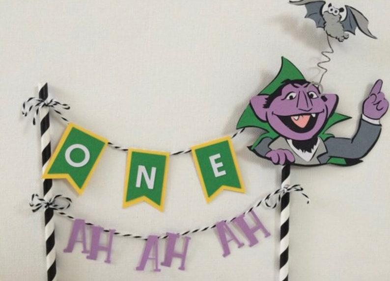 Enjoyable Sesame Street The Count Cake Topper First Birthday Cake Etsy Personalised Birthday Cards Sponlily Jamesorg