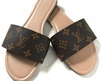 54f49e02f8e0a Louis Vuitton Luxury LV Slides Sandals House Slippers Beach Flats Wider Fit  Available In All Sizes