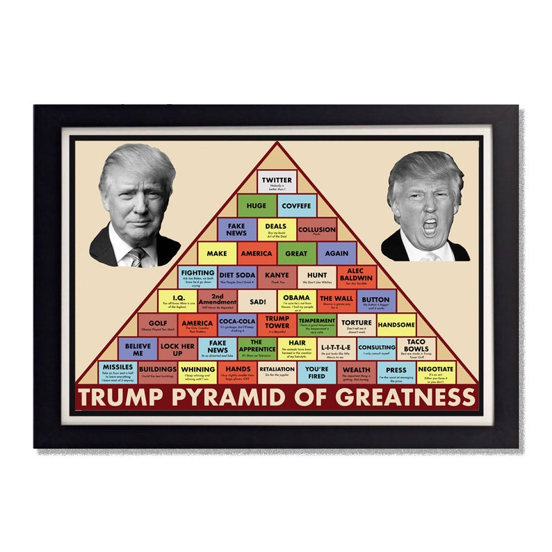 image relating to Ron Swanson Pyramid of Greatness Printable Version identify Ron Swanson Pyramid of Greatness [Trump Variation] Shiny Poster 11x17 or 24x36within