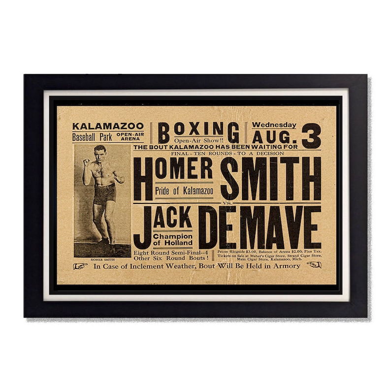 Homer Smith Boxing vs Jack Demave Vintage Reproduction Poster 11x17in  24x36in