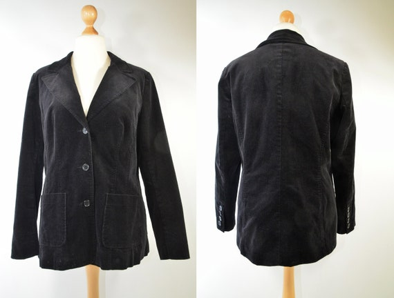 Details about  /Vintage 70s Alphabet Blazer Jacket Womens Kitschy Wize Large Peacoat