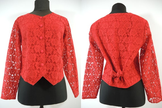80s Lace blouse Red