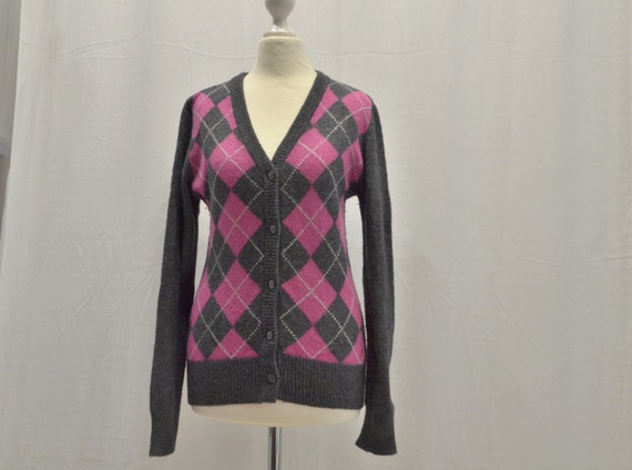 Vintage Cardigan anthracite and multicolor Argyle