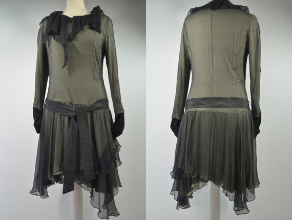 Jersey organza dress flapper dress green black, si