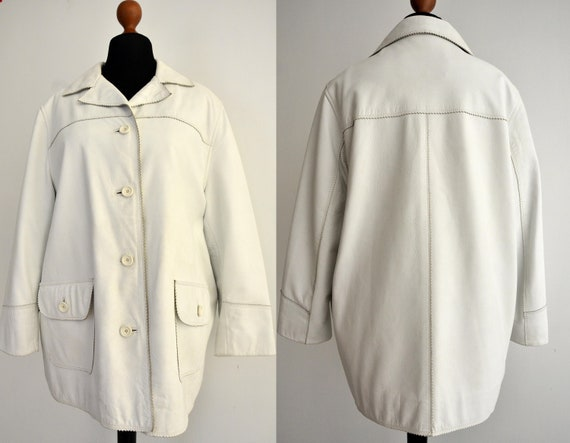 70s leather jacket, white