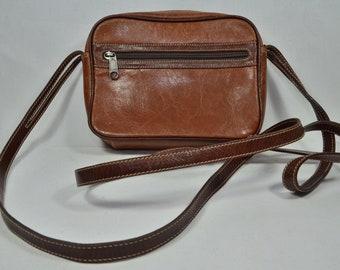 Vintage leather bag shoulder bag in 2 shades of brown