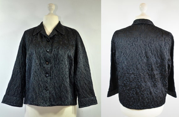Cloqué jacket with jacquard pattern, 70s, black - image 1