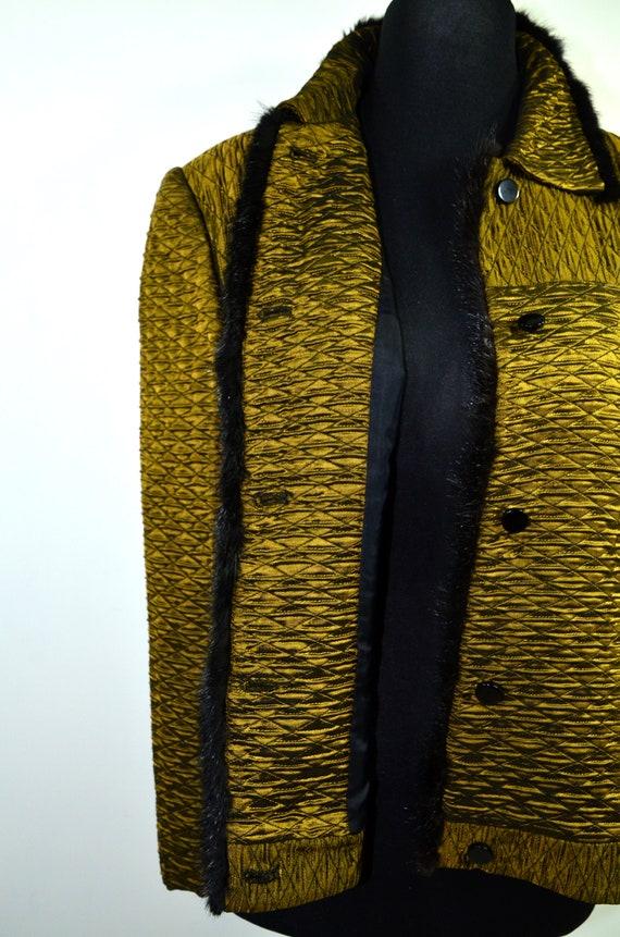 Cloqué Blouson gold black 70s - image 7
