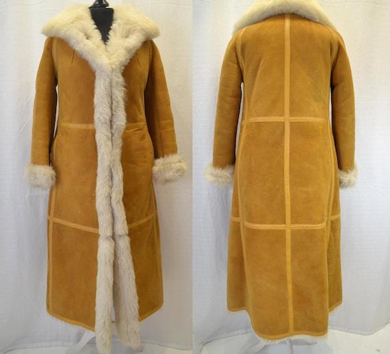 Vintage Afghan Coat, Sheepskin Coat, Maxi Length