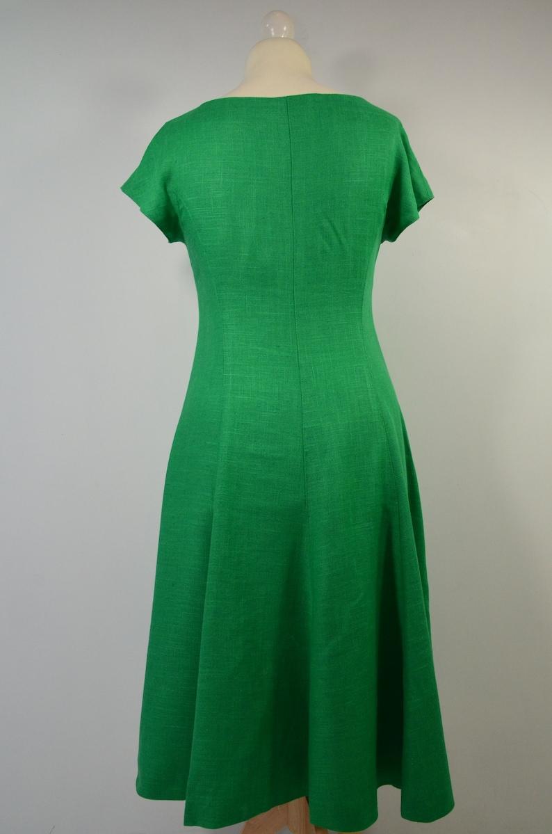 unique Vintage linen dress grass green