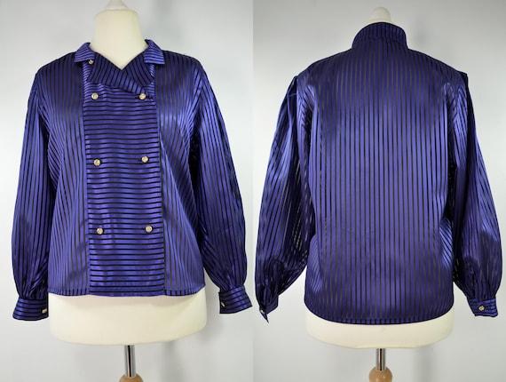 Blouse 80s black organza, blue satin striped