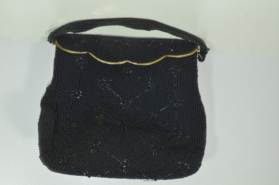 Evening bag black 50s embroidered seed beads