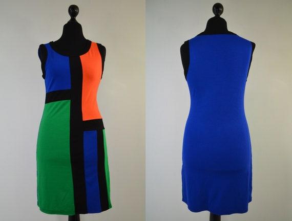 Op Art Dress, Mondrian Pattern Jersey Summer Dress