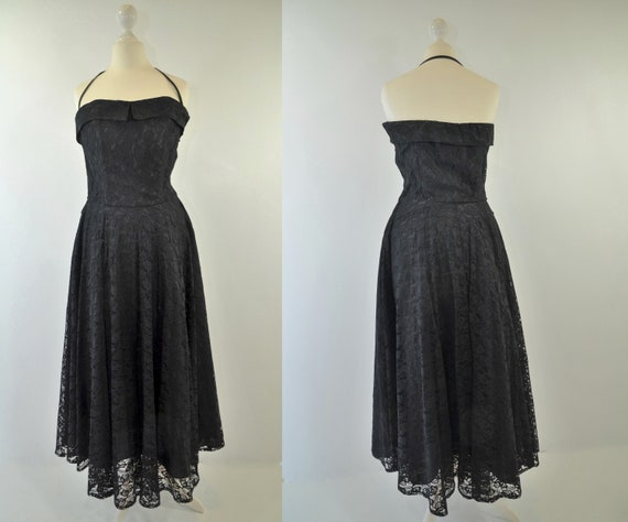 Vintage Halter lace Dress black 50s
