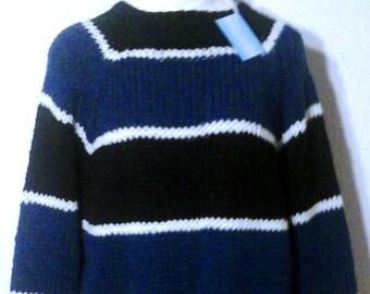 b794c16519 NEU und einmalig: Flausch-Pullover blau-schwarz-weiß XXL