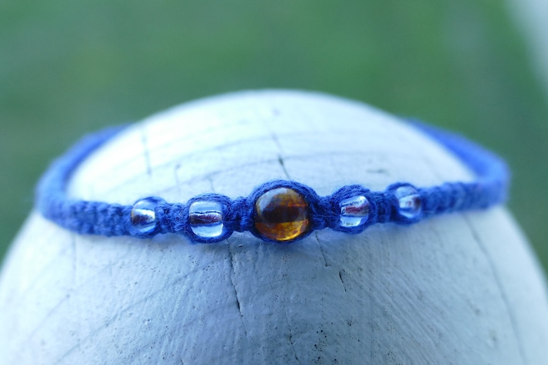 Blue Macrame Bead Bracelet