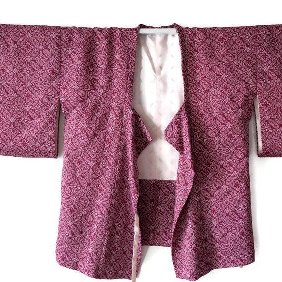 Vintage Japanese Kimono Haori Jacket Silk Shibori,