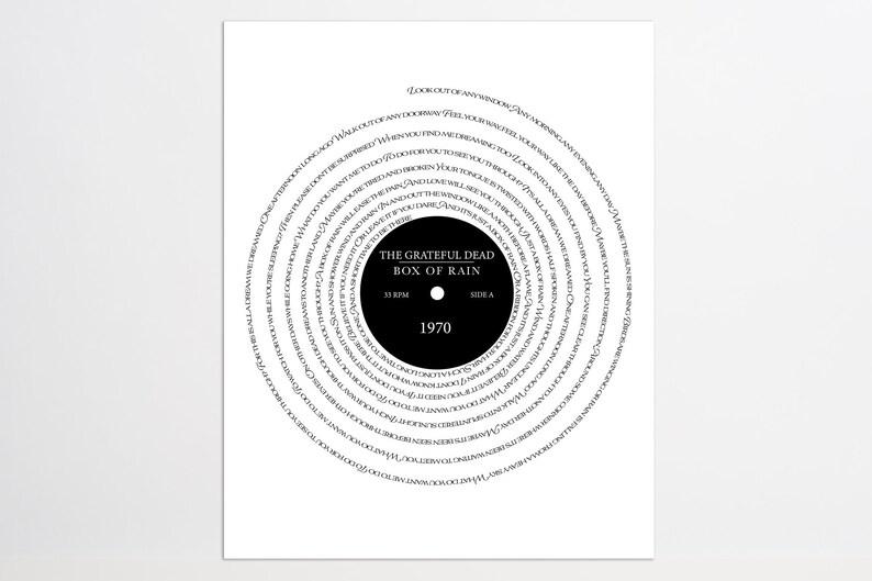 The Grateful Dead Box of Rain Lyric Record Album image 0