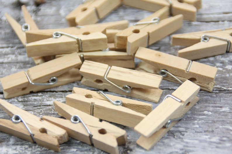 24 x natural clothespins wood natural XL 35x7x10mm image 0