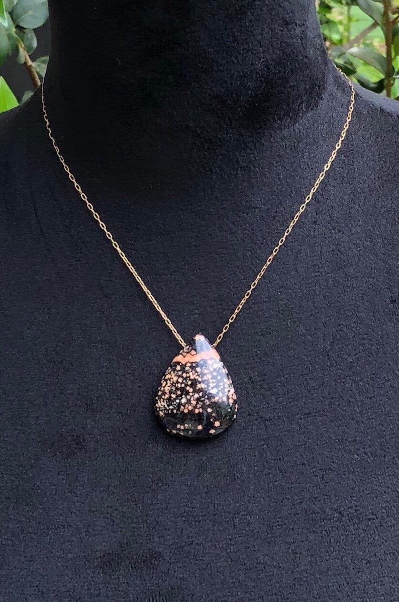 Cherry Blossom Jasper Jewelry Solid Brass Natural Stone Necklace Cabochon Necklace Cherry Blossom Jasper Teardrop Pendant Necklace